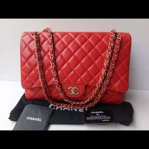 Authentic Chanel Maxi Red Lamb Gold Hardware
